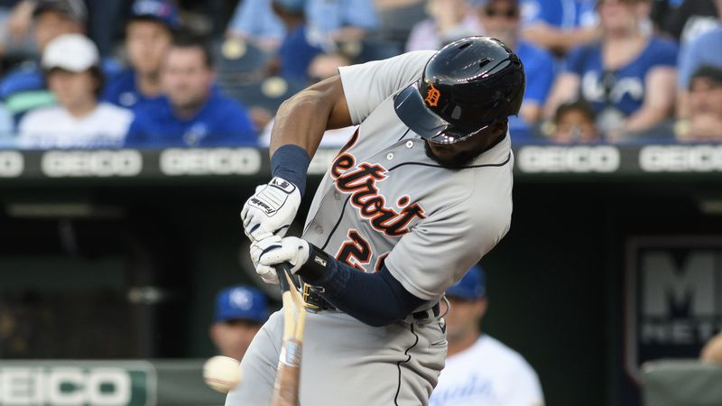 Detroit Tigers' Niko Goodrum breaks his bat on a two-RBI single during the first inning of a...