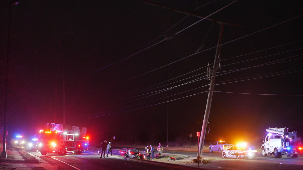 Power pole damaged at Battlefield and S. Ridgecrest Drive
