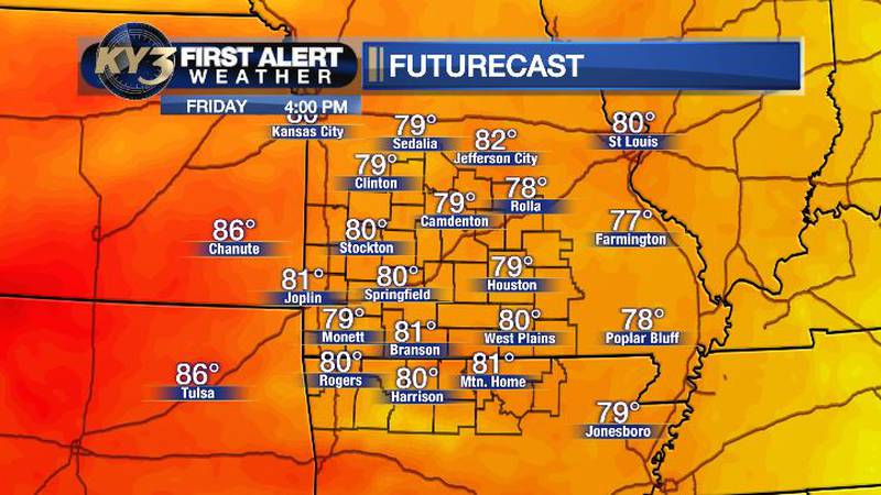 Comfortable temps across the Ozarks this afternoon