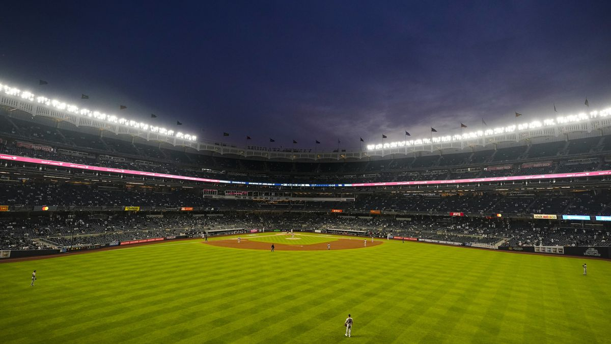 The Houston Astros play the New York Yankees during the third inning of a baseball game...