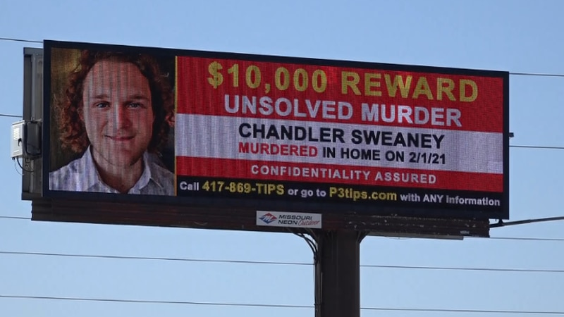 Billboards across Springfield ask for information in death of Chandler Sweaney.