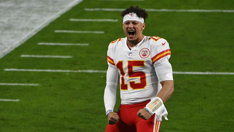 Kansas City Chiefs quarterback Patrick Mahomes (15) reacts before an NFL football game, Sunday...