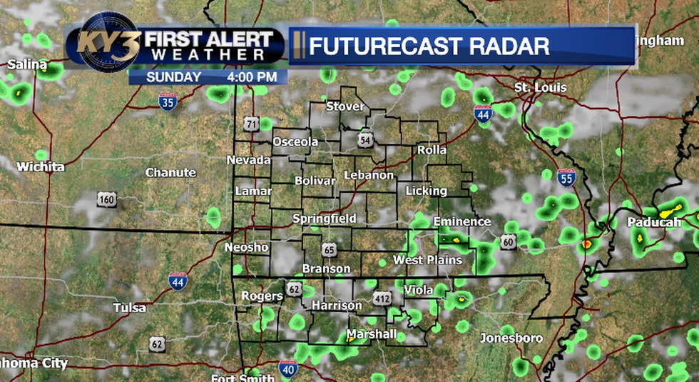 A few isolated storms are possible Sunday