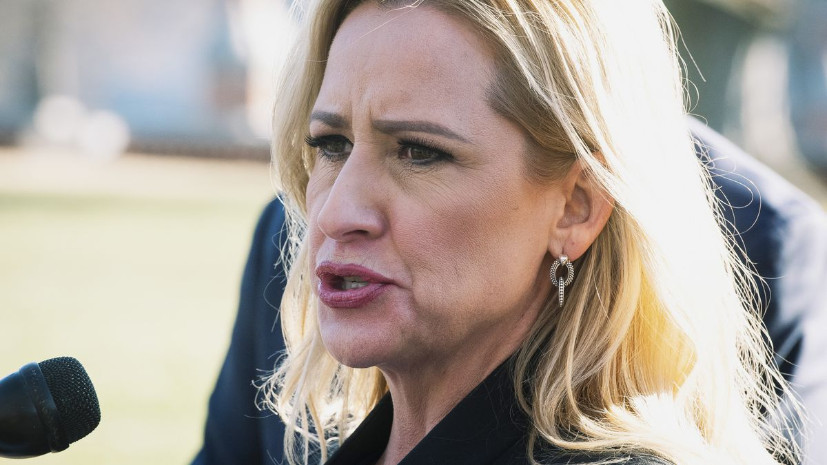 FILE - In this Jan. 22, 2020, file photo, Arkansas Attorney General Leslie Rutledge speaks to...