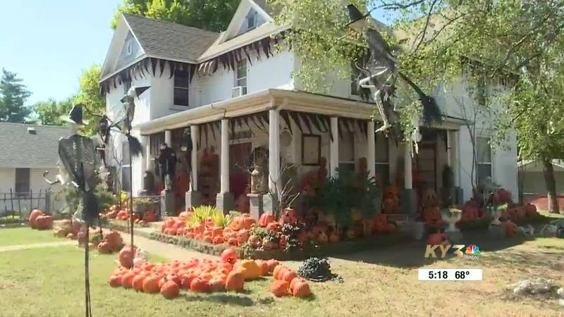 Eric Delzell says there are roughly 900 pumpkins on his Nixa property.