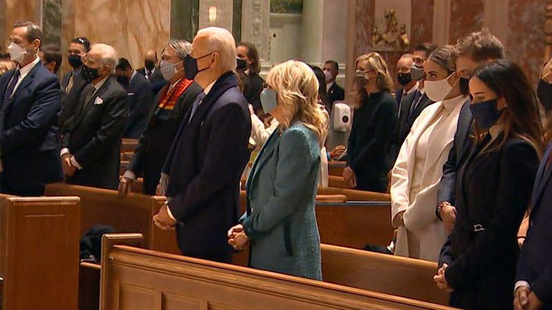 President-elect Joe Biden and his wife, Dr. Jill Biden, attend the Cathedral of St. Matthew the...