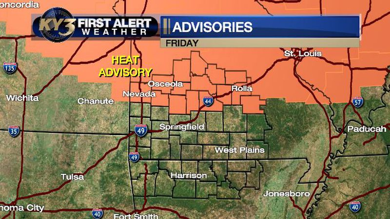 Triple digit heat index possible Friday so a Heat Advisory has been issued.
