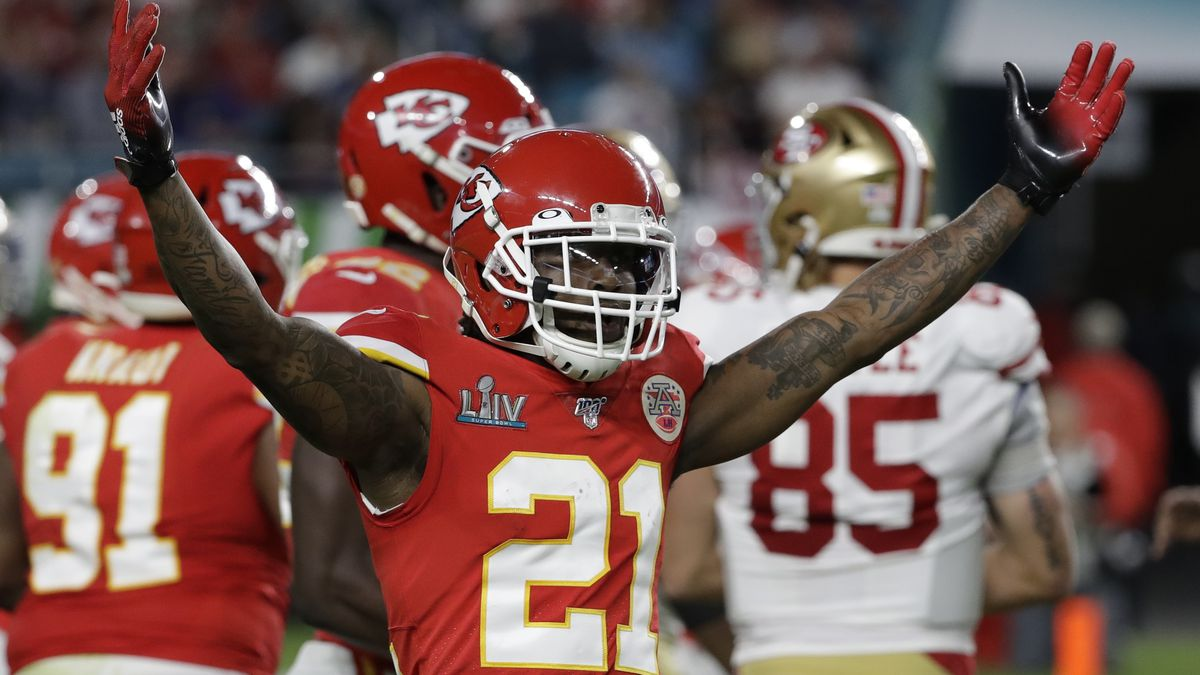 Kansas City Chiefs' Bashaud Breeland (21) reacts against the San Francisco 49ers during the first half of the NFL Super Bowl 54 football game Sunday, Feb. 2, 2020, in Miami Gardens, Fla. (AP Photo/Seth Wenig)