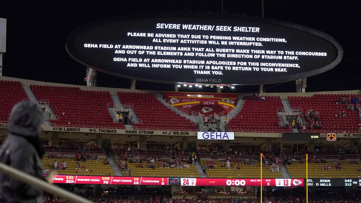 A sign warning of severe weather is seen on a board during the halftime of an NFL football game...