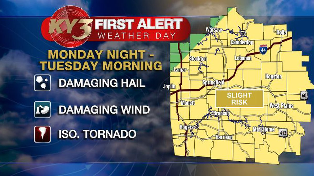 Monday night into Tuesday morning is a First Alert Weather Day