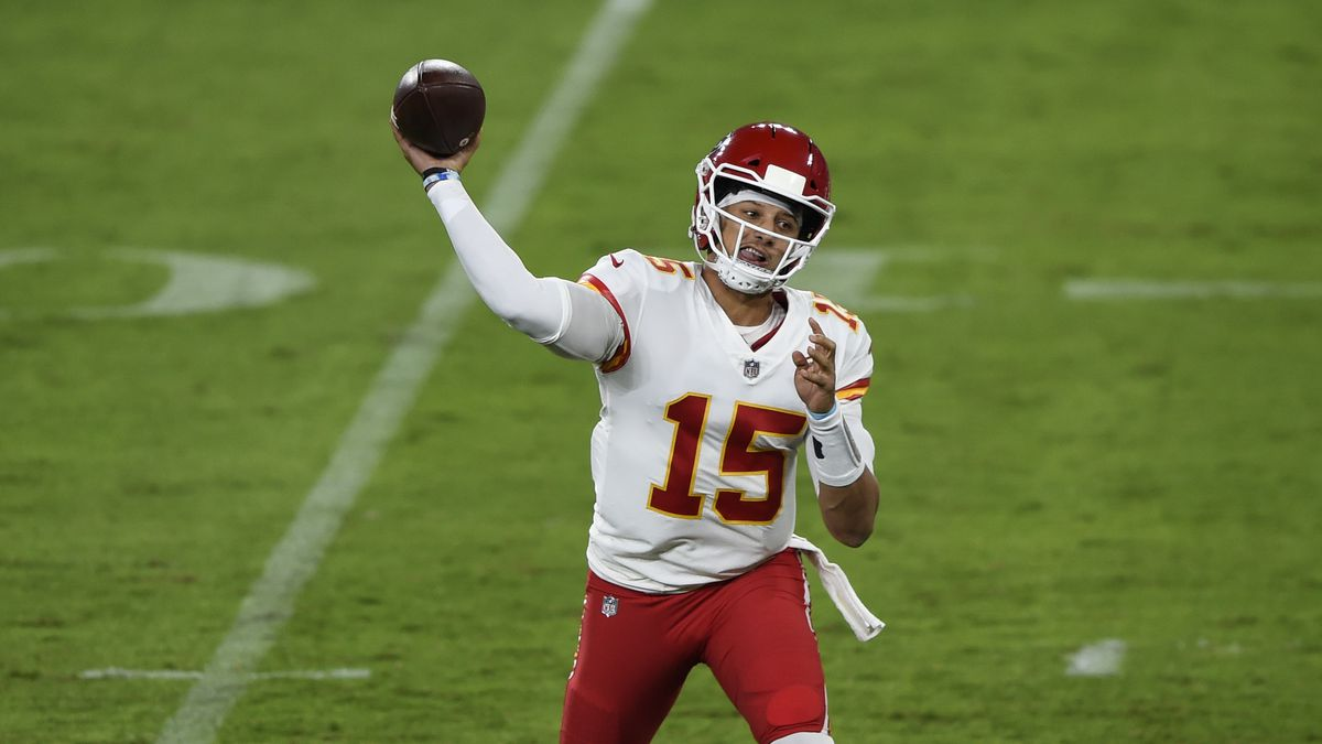 Kansas City Chiefs quarterback Patrick Mahomes (15) throws during the first half of an NFL football game against the Baltimore Ravens, Monday, Sept. 28, 2020, in Baltimore. (AP Photo/Gail Burton)