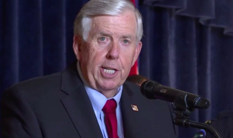 Governor Mike Parson addresses the media.