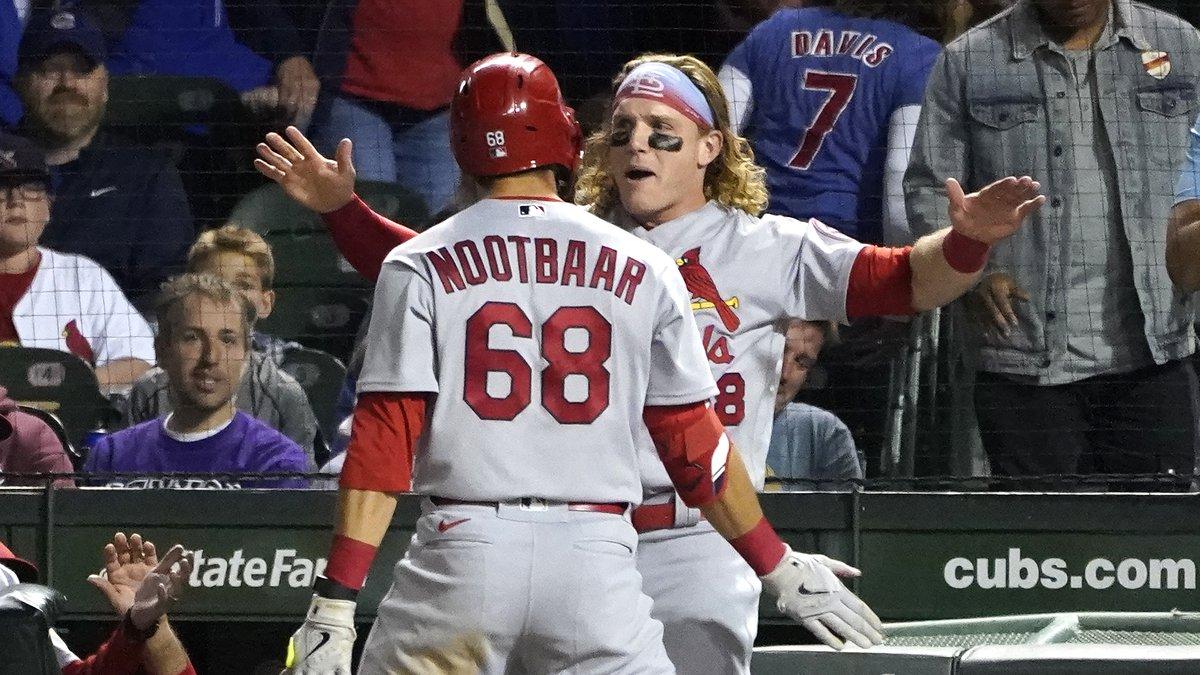 St. Louis Cardinals' Lars Nootbaar (68) celebrates his home run off Chicago Cubs relief pitcher...