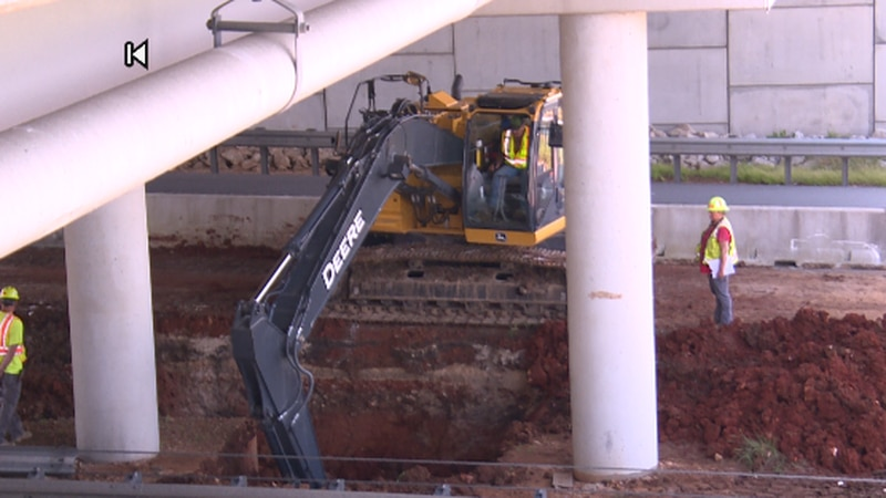 The work has begun on fixing the sinkhole that opened up in the median of westbound I-44...