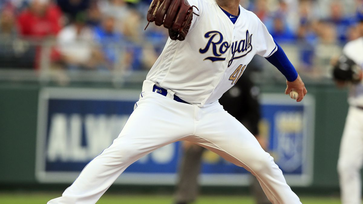 Kansas City Royals starting pitcher Danny Duffy delivers to a Los Angeles Angels batter during the first inning of a baseball game at Kauffman Stadium in Kansas City, Mo., Friday, April 26, 2019. (AP Photo/Orlin Wagner)