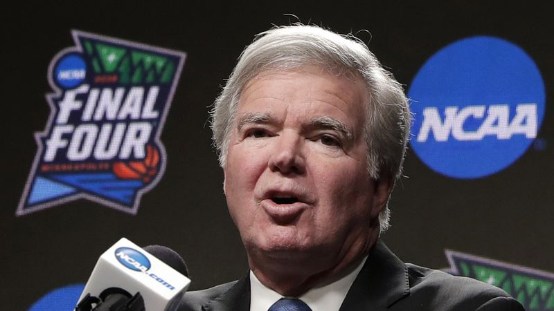 FILE - In this April 4, 2019, file photo, NCAA President Mark Emmert answers questions at a...