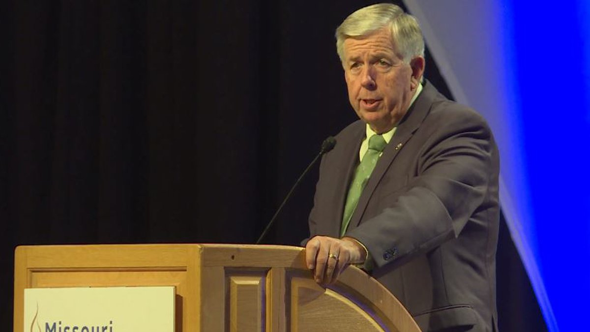 Gov. Mike Parson (R-Mo.) speaks to education administrators at their annual conference at...