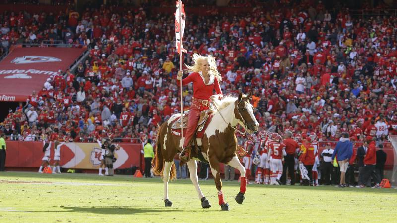 Kansas City Chiefs mascot Warpaint makes an appearance after a touchdown in the second half of...