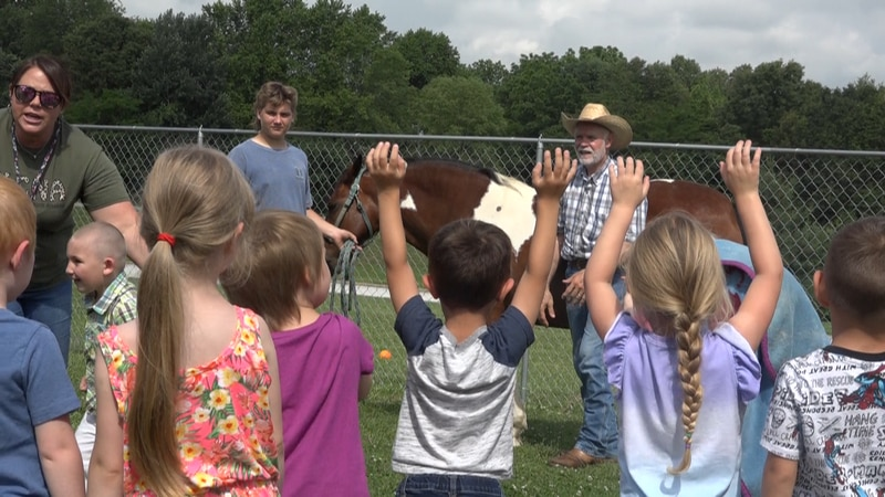 Kids at The Learning Center spent the morning riding horses and petting goats