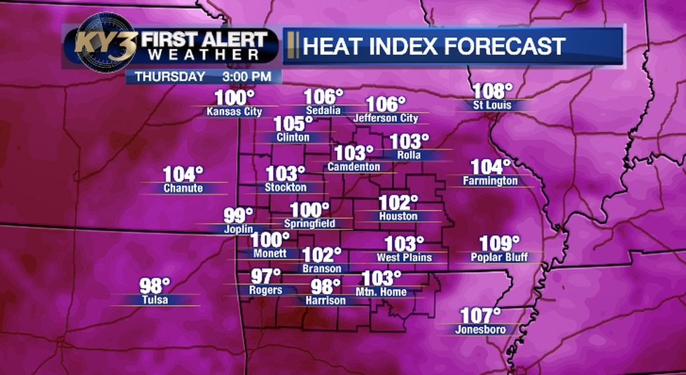 The Heat Index will again top 100 degrees Thursday