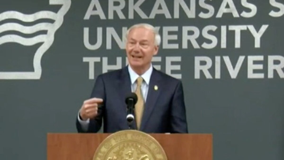Governor Asa Hutchinson briefed the state Tuesday from Malvern.