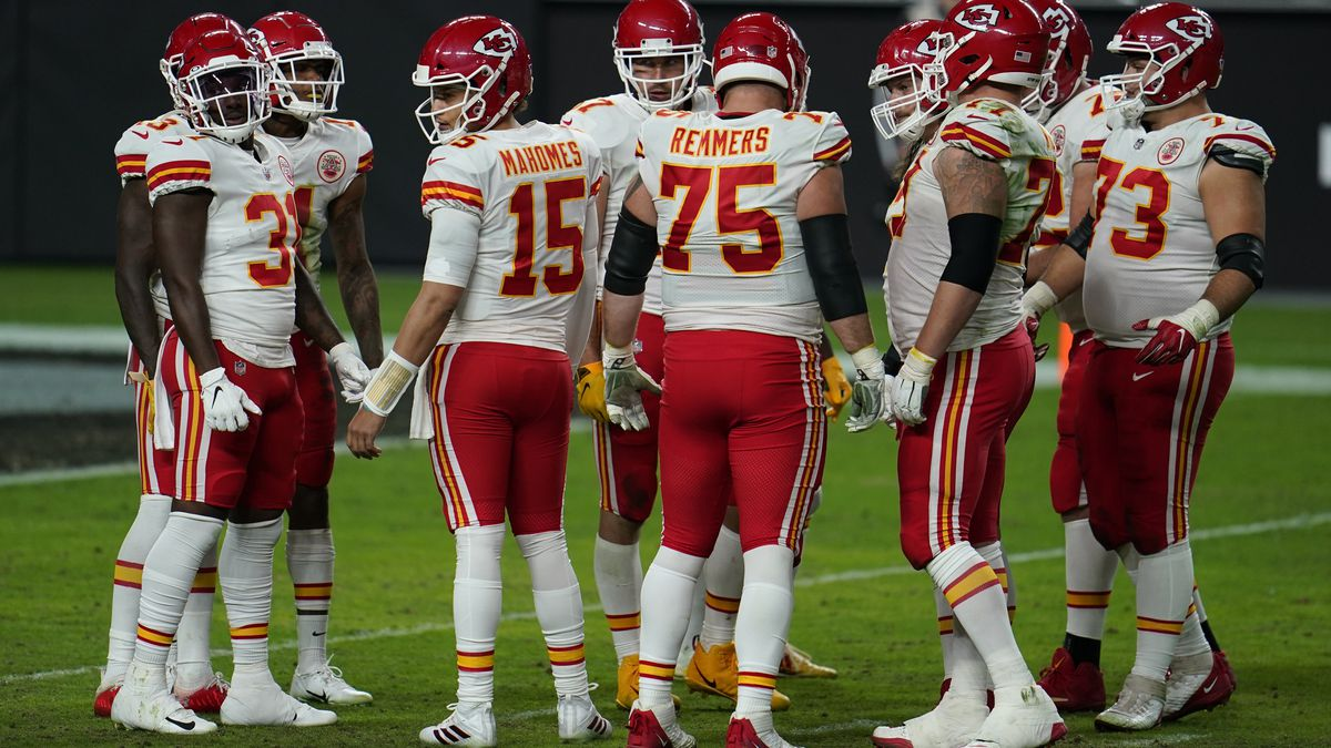 Kansas City Chiefs quarterback Patrick Mahomes #15 looks to the sideline during the first half...
