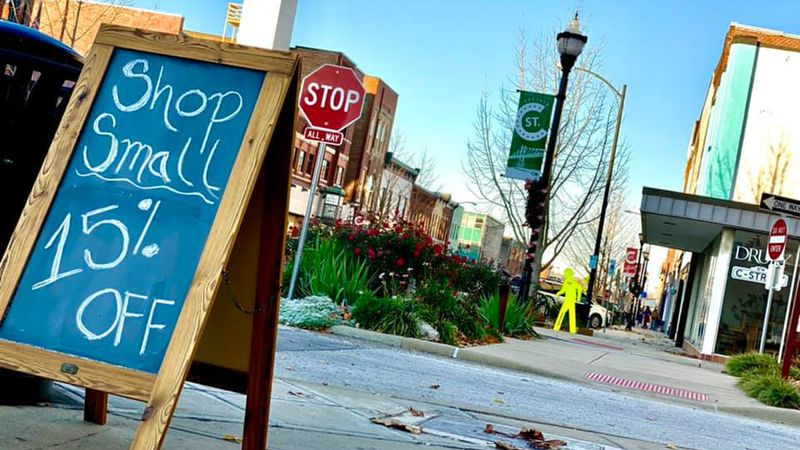 Shop small sign sit in front of Beautiful Fight Woodworking as owners gear up for first Small...