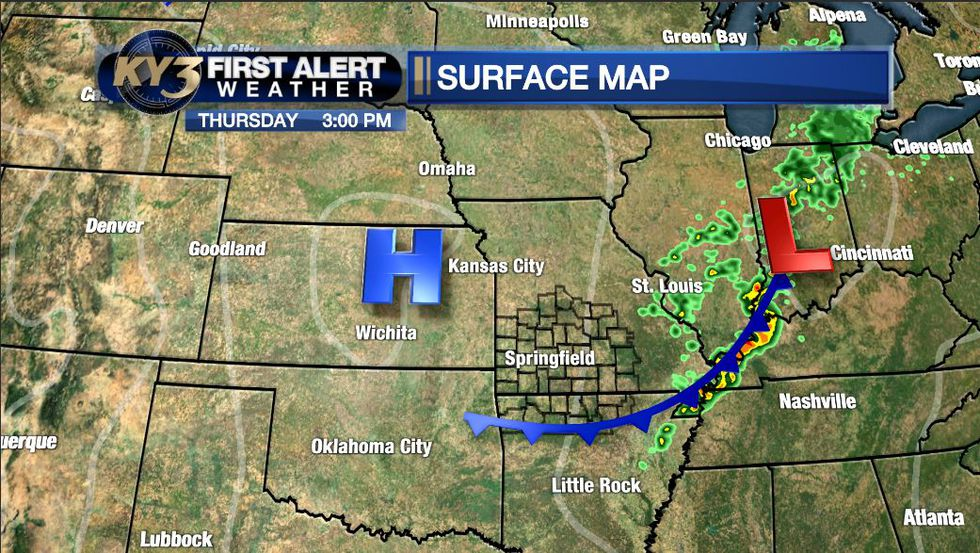 A weak cold front will knock temperatures down only slightly compared to Wednesday.
