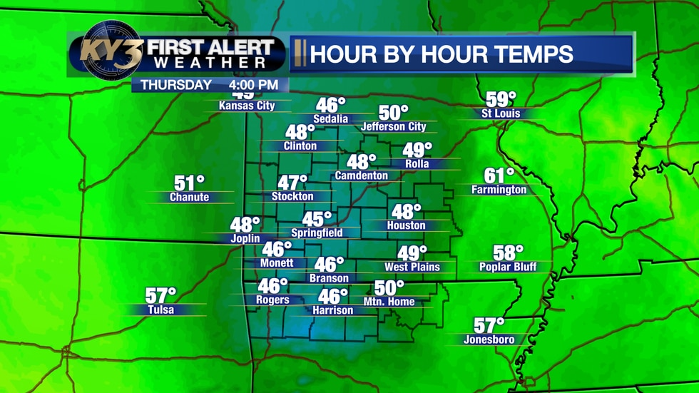 Light rain will spread back across the region on Thursday, and the warmest part of the day will...