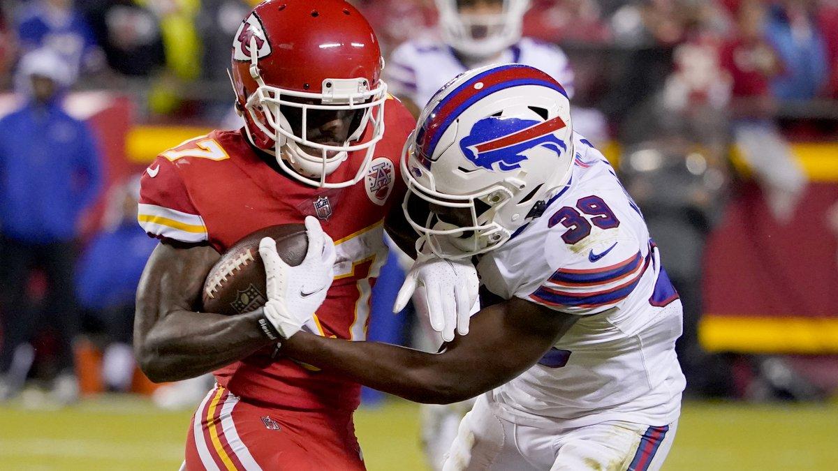 Kansas City Chiefs wide receiver Mecole Hardman (17) catches a pass as Buffalo Bills cornerback...