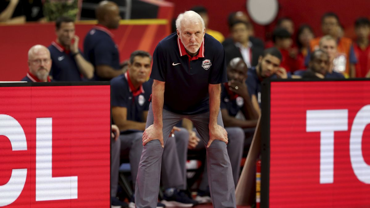 United States' coach Gregg Popovich looks on during a quarterfinal match against France for the FIBA Basketball World Cup in Dongguan in southern China's Guangdong province on Wednesday, Sept. 11, 2019. France defeated United States 89-79. (AP Photo/Ng Han Guan)