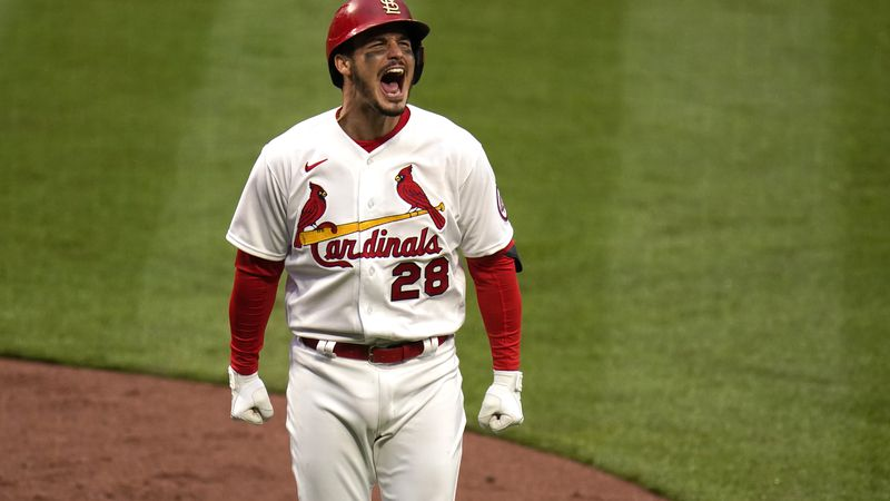 St. Louis Cardinals' Nolan Arenado celebrates after hitting a two-run home run during the...