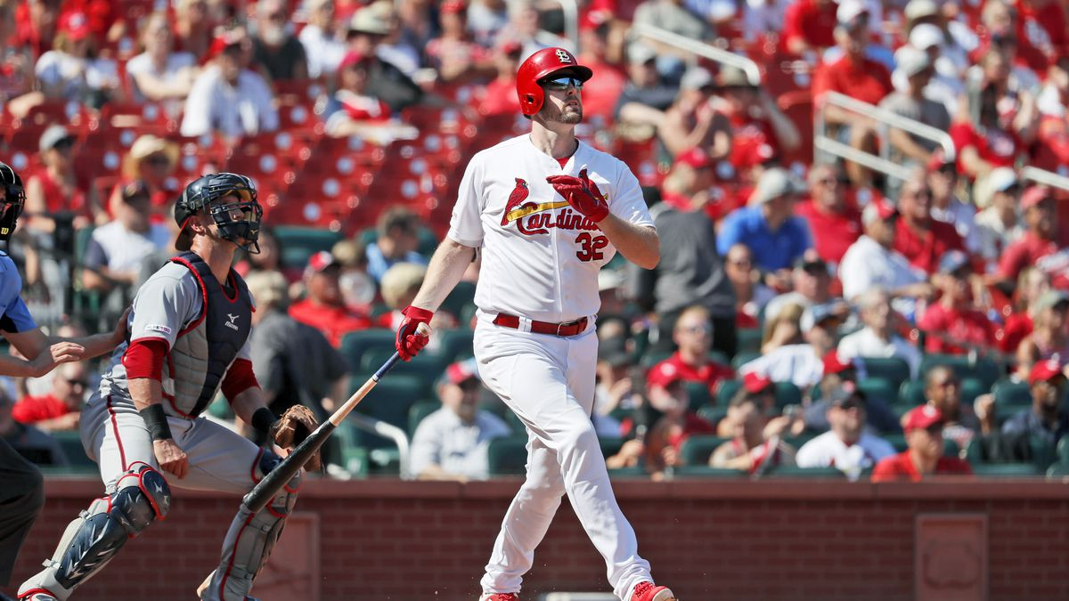 St. Louis Cardinals' Matt Wieters (32) watches his two-run home run alongside Washington Nationals catcher Yan Gomes, left, during the seventh inning of a baseball game Wednesday, Sept. 18, 2019, in St. Louis. (AP Photo/Jeff Roberson)