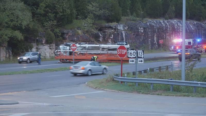 Truck overturns on U.S. 160 near Farm Road 192.