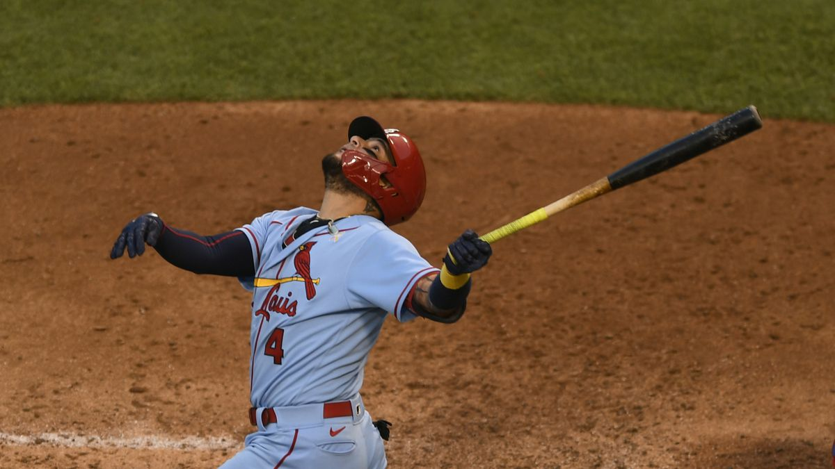 St. Louis Cardinals' Yadier Molina watches his fly ball during the third inning of a baseball game against the Chicago Cubs Sept. 5, 2020, in Chicago. St. Louis won 4-2 in seven innings. (AP Photo/Paul Beaty)