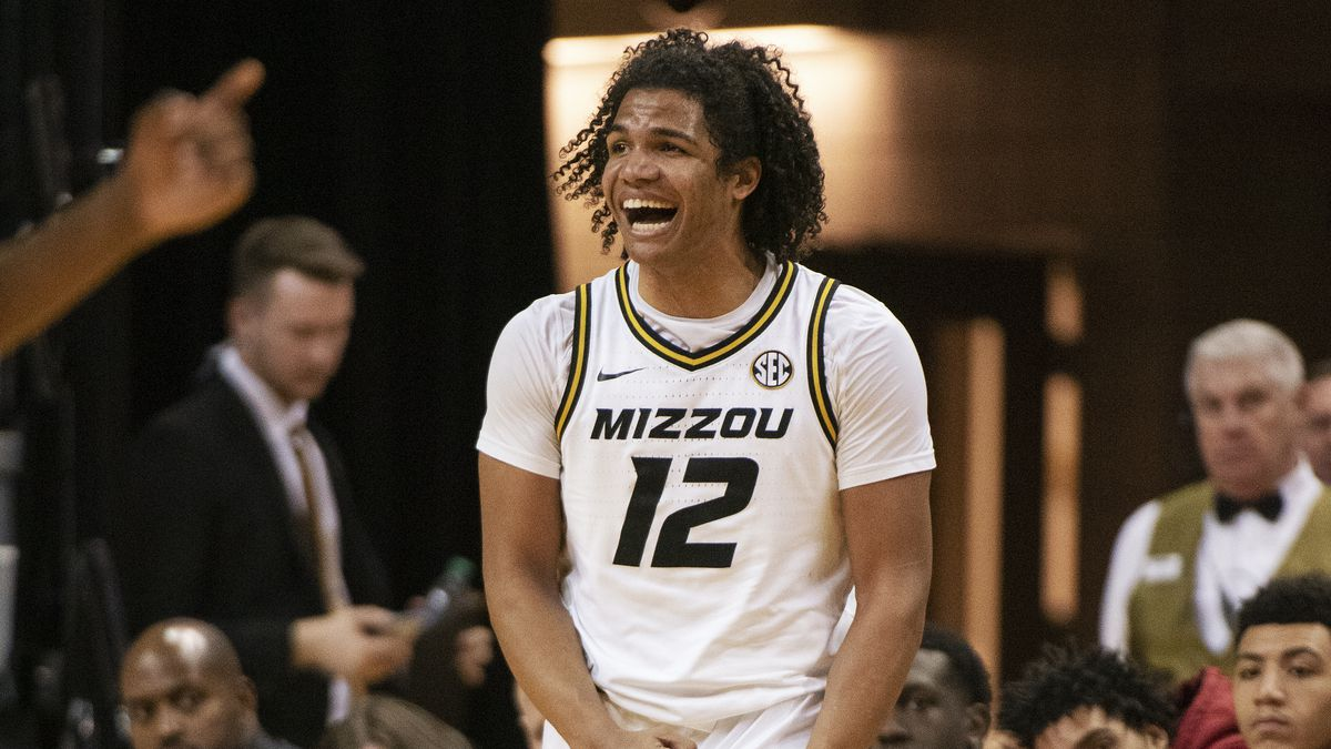 Missouri's Dru Smith celebrates an Alabama turnover during the second half of an NCAA college basketball game Saturday, March 7, 2020, in Columbia, Mo. Missouri won 69-50.(AP Photo/L.G. Patterson)