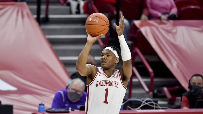FILE - Arkansas guard JD Notae (1) shoots against LSU during the first half of an NCAA college...