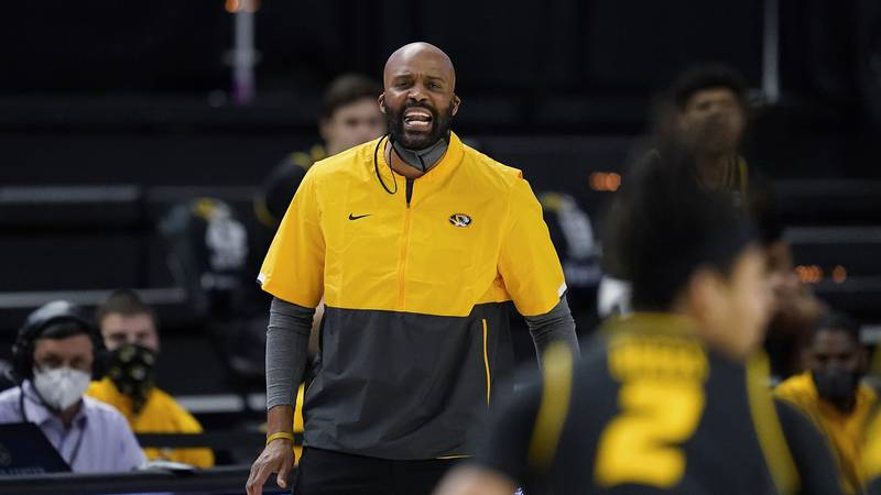 FILE - In this Jan. 16, 2021, file photo, Missouri coach Cuonzo Martin yells to the team during...