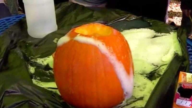Elementary students in Nixa, Mo. make pumpkin volcanoes
