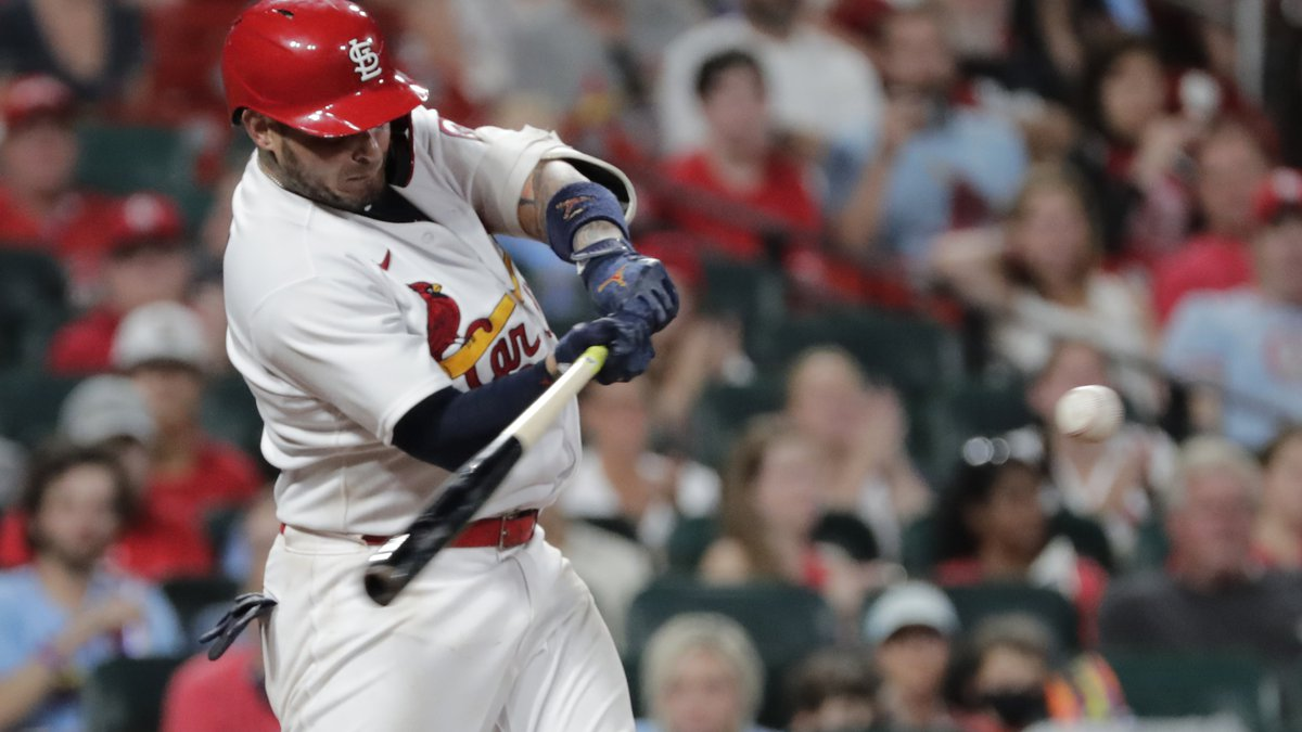 St. Louis Cardinals' Yadier Molina connects for a double in the seventh inning of a baseball...