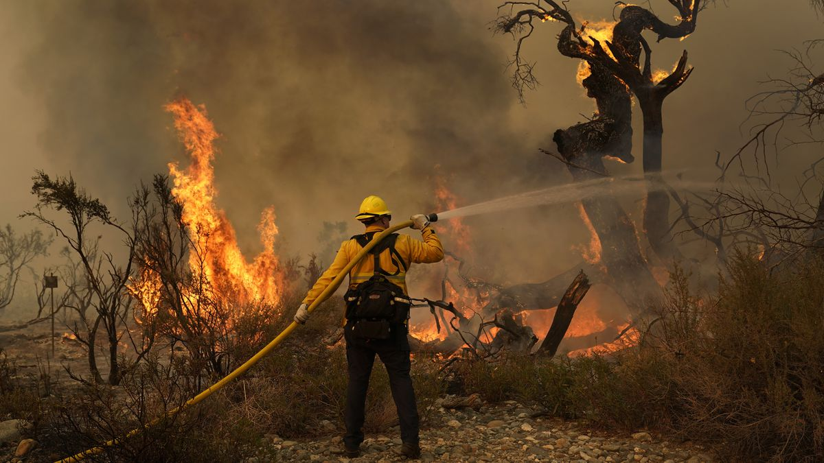 Jesse Vasquez, of the San Bernardino County Fire Department, hoses down hot spots from the...