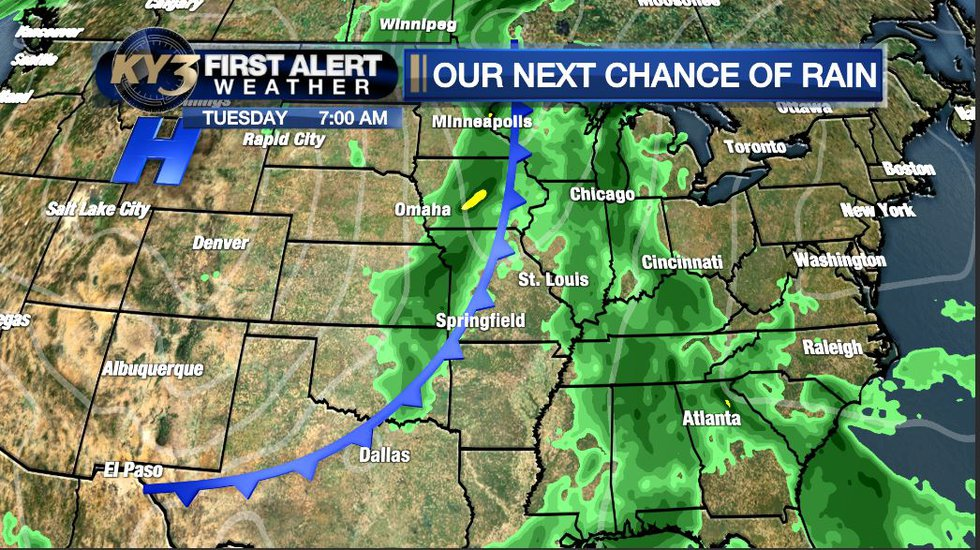 A strong cold front will arrive Tuesday, bringing a chance for scattered strong storms.