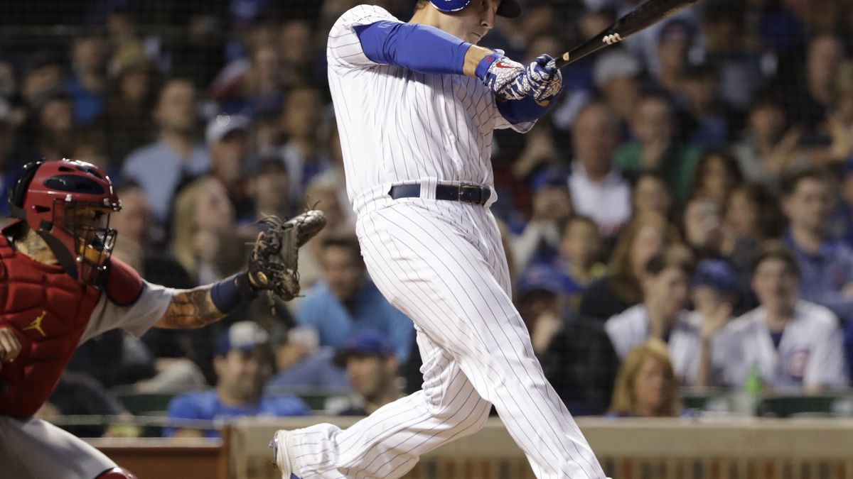 Chicago Cubs' Anthony Rizzo hits a two-run double during the sixth inning of a baseball game against the St. Louis Cardinals, Sunday, May 5, 2019, in Chicago. (AP Photo/Nam Y. Huh)