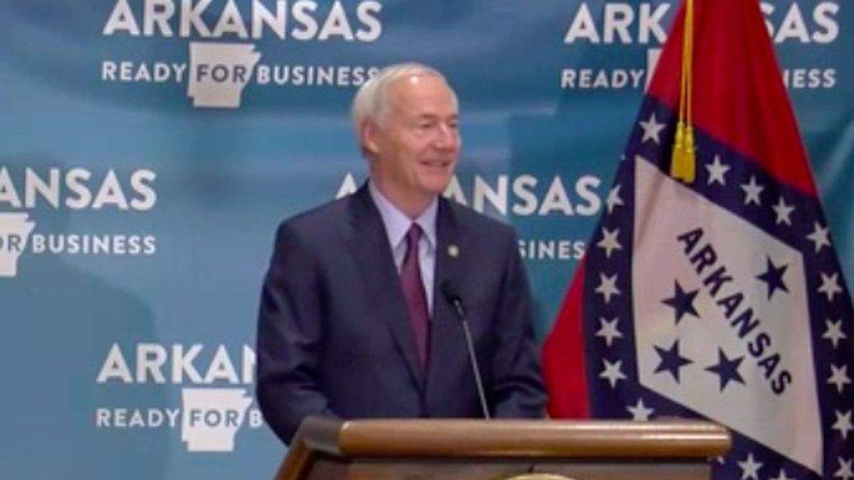 Gov. Hutchinson holds briefing in Little Rock.