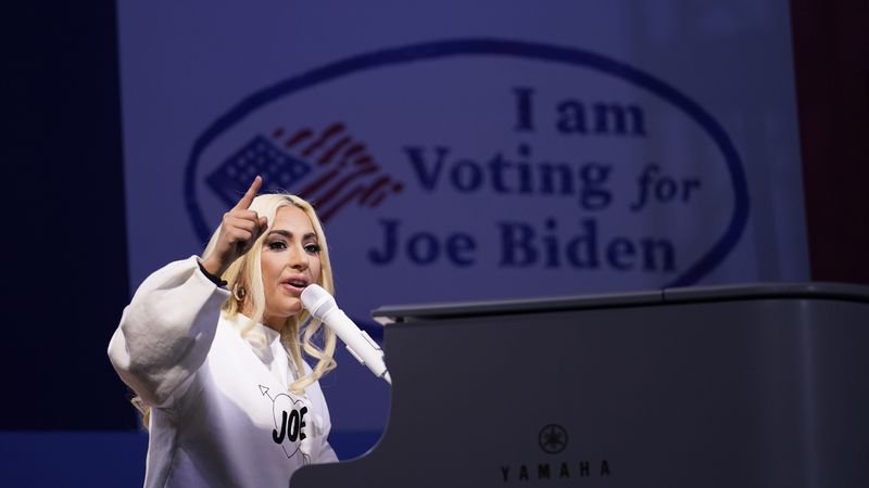 FILE - In this Nov. 2, 2020 file photo, Lady Gaga performs during a drive-in rally for then...