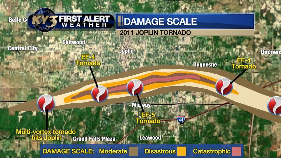 Damage scale from the May 2011 Joplin tornado.