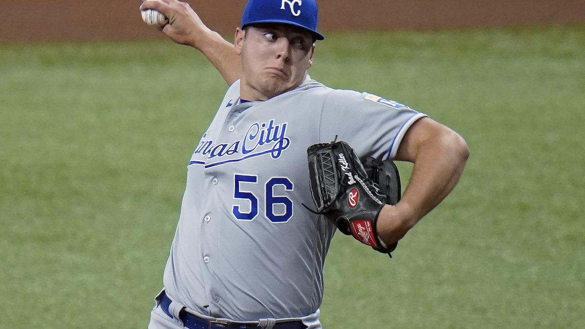 Kansas City Royals starting pitcher Brad Keller delivers to the Tampa Bay Rays during the first...