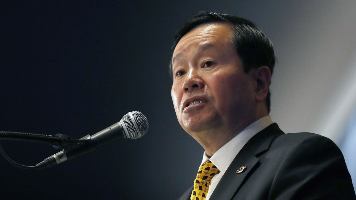 FILE - In this Dec. 10, 2019 file photo, University of Missouri system president Mun Choi speaks during a news conference in Columbia, Mo. University of Missouri-Columbia Journalism School faculty members are criticizing the university system's president for comments and actions that they say could discourage dissent. Fifteen faculty members signed a letter Monday, Sept. 14, 2020, to Choi, who is also chancellor at system's flagship Columbia campus, the Columbia Missourianreported.(AP Photo/Jeff Roberson File)