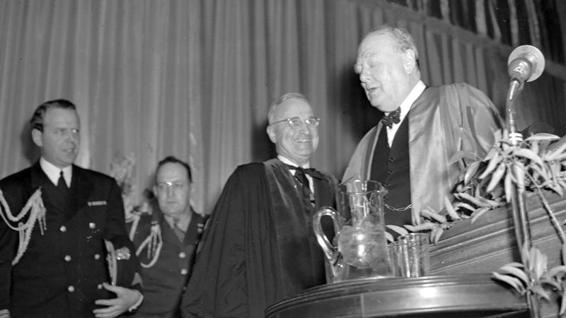 FILE - In this March 5, 1946 file photo, British Prime Minister Winston Churchill finishes...