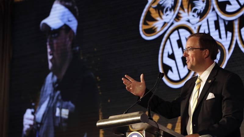 Missouri head coach Eliah Drinkwitz speaks to reporters during the NCAA college football...
